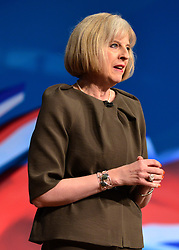 © Licensed to London News Pictures. 09/10/2012. Birmingham, UK Home Secretary Theresa may makes her keynote conference speech at The Conservative Party Conference at the ICC today 9th October 2012. Photo credit : Stephen Simpson/LNP