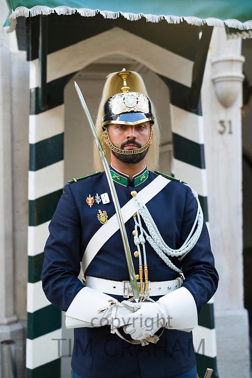 Sentry in ceremonial uniform at National Republican Guard Museum - Guarda Nacional Republicana Comando-Geral da GNR in Lisbon, Portugal