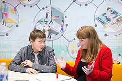 © Licensed to London News Pictures . 26/09/2016 . Liverpool , UK . Shadow Education Minister ANGELA RAYNOR meets young science student , JAKE PERRY (17) (left) during a visit to Liverpool City College during the second day of the Labour Party Conference in Liverpool . Photo credit : Joel Goodman/LNP