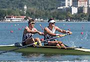 "Rio de Janeiro. BRAZIL.   2016 GBR M2- bow Alan SINCLAIR and Stewart INNES,  CAMPBELL moving away fro the start of his heat at the Olympic Rowing Regatta. Lagoa Stadium,<br /> Copacabana,  ""Olympic Summer Games""<br /> Rodrigo de Freitas Lagoon, Lagoa. Saturday  06/08/2016 <br /> <br /> [Mandatory Credit; Peter SPURRIER/Intersport Images]"