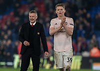 Football - 2018 / 2019 Premier League - Crystal Palace vs. Manchester United<br /> <br /> Ole Gunnar Solskjaer, manager of Manchester United, shows the fun has returned to Manchester United as he jokes after the game at Selhurst Park.<br /> <br /> COLORSPORT/DANIEL BEARHAM