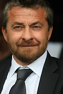 Fulham Manager Slavisa Jokanovic looks on from the dugout. EFL Skybet championship match, Fulham v Sheffield Wednesday at Craven Cottage in London on Saturday 19th August 2017<br /> pic by Steffan Bowen, Andrew Orchard sports photography.