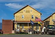 Sunbury, Pennsylvania (October 16, 2018) -- A house displays an American flag, a Trump flag and a Gadsden flag.