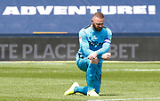 Derby County's Wayne Rooney take knee in solidarity with Black Lives Matter movement during EFL Sky Bet Championship between Millwall and Derby County at The Den Stadium, Saturday, June 20, 2020, in London, United Kingdom. (ESPA-Images/Image of Sport)