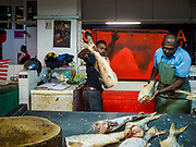 24 AUGUST 2018 - GEORGE TOWN, PENANG, MALAYSIA: Fish mongers in Chowrasta Market in central George Town. Chowrasta Market was originally built in 1890 and is the older of two traditional markets in George Town. The original building was torn down and replaced with a modern building in 1961 and has been renovated several times since.     PHOTO BY JACK KURTZ