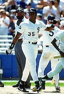 CHICAGO - 1991:  Frank Thomas of the Chicago White Sox looks on during an MLB game at Comiskey Park in Chicago, Illinois.  Thomas played for the White Sox from 1990-2005. (Photo by Ron Vesely)