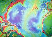 Map of mid Atlantic ridge and volcanoes,  Casa de los Volcanes volcanic study centre, Lanzarote, Canary island, Spain