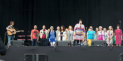 The Parsonage Choir opens the main stage on Sunday, 12th July 2015, day three at T in the Park 2015, at its new home at Strathallan Castle.