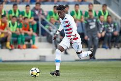 May 28, 2018 - Chester, PA, U.S. - CHESTER, PA - MAY 28: United States midfielder Tim Weah (11) dribbles the ball during the international friendly match between the United States and Bolivia at the Talen Energy Stadium on May 28, 2018 in Chester, Pennsylvania. (Photo by Robin Alam/Icon Sportswire) (Credit Image: © Robin Alam/Icon SMI via ZUMA Press)