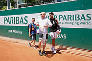 Novak Djokovic (SRB) and Andre Kirk Agassi (USA) new trainer of Novak Djokovic (SRB) at practice court 5 during the Roland Garros French Tennis Open 2017, preview, on May 25, 2017, at the Roland Garros Stadium in Paris, France - Photo Stephane Allaman / ProSportsImages / DPPI