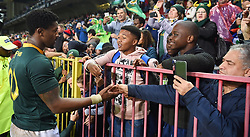Cape Town-180623- Springbok player Skhumbuzo Notshe greeting a fan wh came to watch  Springboks and England at Newlands Stadium photographer:Phando Jikelo/African News Agency/ANA
