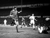 Steve Heighway scores a goal for Liverpool past Tottenham goalkeeper Pat Jennings. Tottenham Hotspur v Liverpool. UEFA Cup 1/2 final 2nd leg, 25/4/73. Credit: Colorsport.
