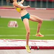 TOKYO, JAPAN August 7:   Nicola McDermott of Australia during her fist attempt at 2.04m during her silver medal performance in the high jump final for women during the Track and Field competition at the Olympic Stadium  at the Tokyo 2020 Summer Olympic Games on August 7th, 2021 in Tokyo, Japan. (Photo by Tim Clayton/Corbis via Getty Images)
