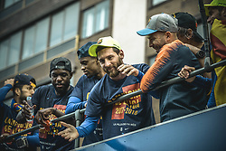 April 30, 2018 - Barcelona, Catalonia, Spain - FC Barcelona forward MESSI greets the fans during the FC Barcelona's open top bus victory parade after winning the LaLiga with their eighth double in the club history. (Credit Image: © Matthias Oesterle via ZUMA Wire)