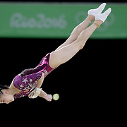 Gymnastics - Olympics: Day 4  Yi Mao of China performing her floor routine during the Artistic Gymnastics Women's Team Final at the Rio Olympic Arena on August 9, 2016 in Rio de Janeiro, Brazil. (Photo by Tim Clayton/Corbis via Getty Images)