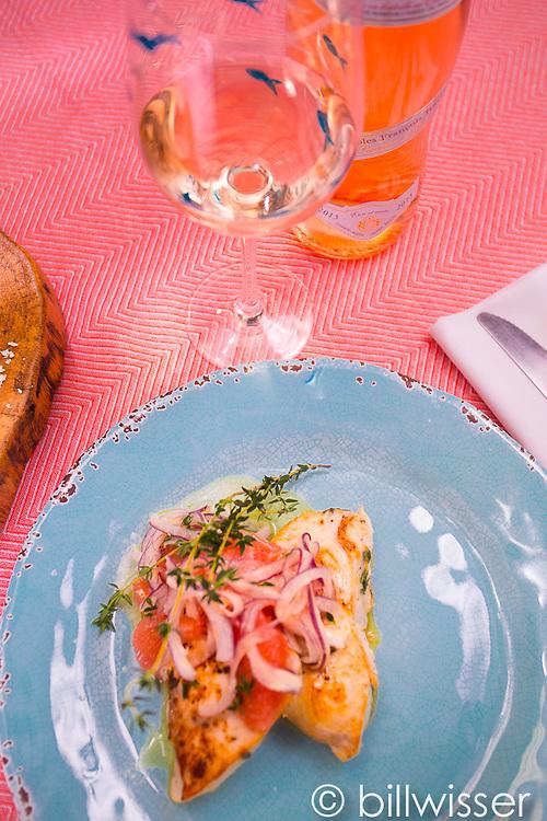 Swordfish with grapefruit, raw onion and horseradish