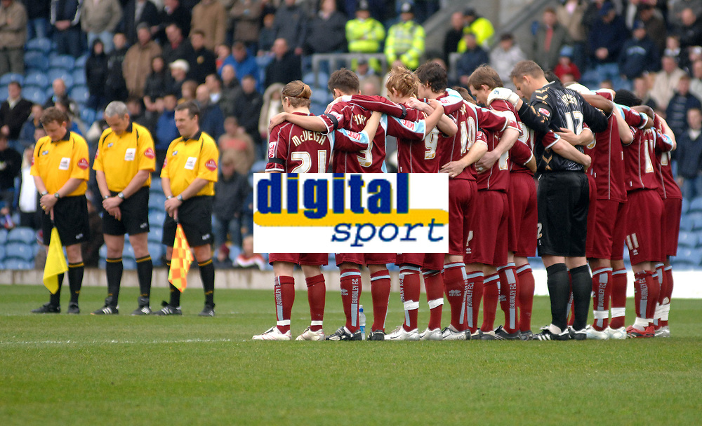 Photo: Paul Greenwood.<br />Burnley FC v Cardiff City. Coca Cola Championship. 09/04/2007.<br />Burnley players stand in a minutes silence for Brian Miller