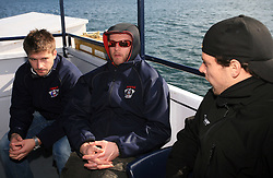 Tomo Hafner, Dejan Varl and Jakob Milovanovic  at whale watching boat, during IIHF WC 2008 in Halifax,  on May 07, 2008, sea at Halifax, Nova Scotia, Canada. (Photo by Vid Ponikvar / Sportal Images)