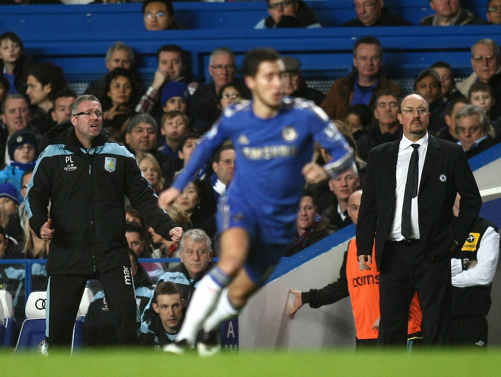 Aston Villa's Manager Paul Lambert and Chelsea's Interim Manager Rafael Benitez reacts during todays match..Football - Barclays Premiership - Chelsea v Aston Villa - Sunday 23rd December 2012 - Stamford Bridge - London..