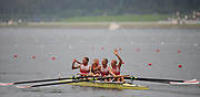 Shunyi, CHINA.  DEN LM4- Lightweight men's fours after the medal ceremony at the 2008 Olympic Regatta, Shunyi Rowing Course. Sun. 17.08.2008  [Mandatory Credit: Peter SPURRIER, Intersport Images]