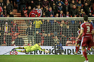 Carl Ikeme (Wolverhampton Wanderers) makes a save during the Sky Bet Championship match between Middlesbrough and Wolverhampton Wanderers at the Riverside Stadium, Middlesbrough, England on 4 March 2016. Photo by Mark P Doherty.
