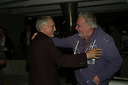 DENNIS HOPPER AND DAVID BAILEY, Party hosted by Larry Gagosian at Nobu, Berkeley St. London. 9 October 2007. -DO NOT ARCHIVE-© Copyright Photograph by Dafydd Jones. 248 Clapham Rd. London SW9 0PZ. Tel 0207 820 0771. www.dafjones.com.