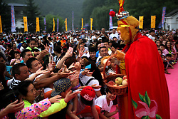 August 3, 2017 - Luoyang, Luoyang, China - Luoyang, CHINA- July 29 (EDITORIAL USE ONLY. CHINA OUT) Thousands of people enjoy the 'peach banquet' at Laojun Mountain Scenic Area in Luoyang, central China's Henan Province, July 29th, 2017. (Credit Image: © SIPA Asia via ZUMA Wire)