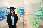 """18/04/2017 REPRO FREE:  <br /> Post BAC graduate Charlotte Lavelle from Ballina  who graduated  at the 13th conferring ceremony, held in the Minstrels gallery the 16th century Newtown Castle at the heart of the BCA campus, exemplifies the continued success of the Burren's  alternative model of art education . <br /> The Irish and  international graduates included Elizabeth Matthews, conferred with  a PhD for her research on Utopian studies , and six international graduates whose work on display in the BCA gallery addressed the ultimate question, """"who am I called to be"""" In her address President of the college Mary Hawkes Greene referred to the unique place based educational  model  committed to  individual student centred  education accredited by NUIGalway , and how it effectively  embraces the often conflicting forces of the global and the local, the public and the private as well as the collective and the individual. <br /> .  Photo:Andrew Downes, xposure"""