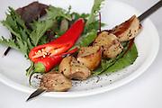 Char grilled Goose liver Shish Kebab Skewer with chilli
