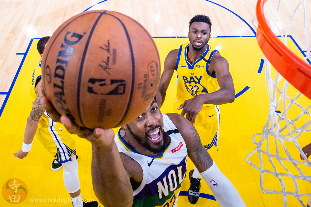 February 23, 2020; San Francisco, California, USA; New Orleans Pelicans center Derrick Favors (22) shoots the basketball during the second half against the Golden State Warriors at Chase Center.