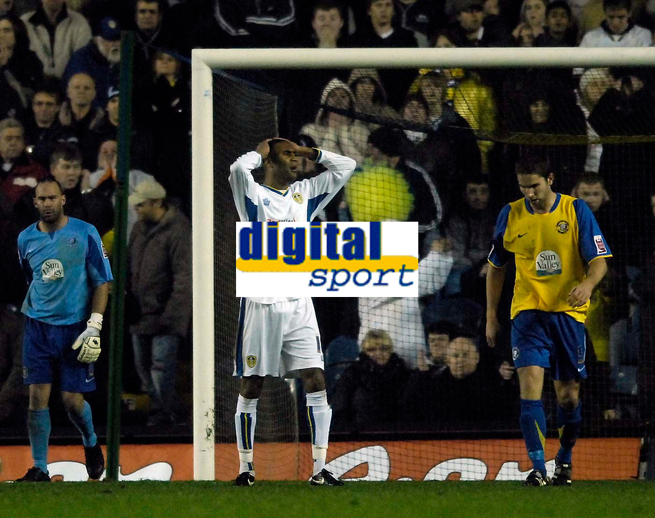 Photo: Jed Wee/Sportsbeat Images.<br /> Leeds United v Hereford United. Coca Cola League 1. 20/11/2007.<br /> <br /> Leeds' Leon Constantine (C) has his head in his hands as he wastes a good chance.