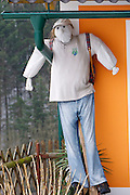 Easter in Southern Styria, Austria. Kitzeck in the snow. A scarecrow.