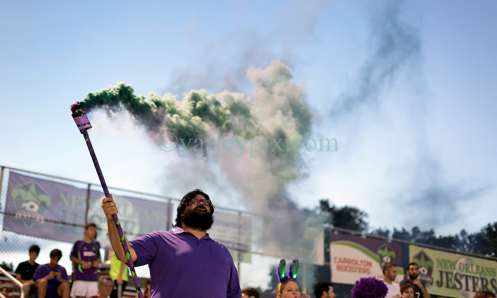 11 June 2016. New Orleans, Louisiana.<br /> NPSL Soccer, Pan American Stadium.<br /> Royal Court at New Orleans Jesters v Chattanooga FC. Jesters lose 0-1 in a fiercely fought contest.<br /> Photo; Charlie Varley/varleypix.com