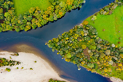 Ballinluig,, Scotland, UK. 13 October 2020. Autumn view of confluence of River Tay and River Tummel at Ballinluig. River Tay (top) and River Tummel are two of Scotland's foremost salmon rivers.  Iain Masterton/Alamy Live News