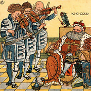 Old King Cole was a merry old soul/ And a merry old soul was he./He called for his pipe and he called for his bowl/And he called for his fiddlers three. King Cole is smoking a hookah and is serenaded by his three violinists who are being conducted by a parrot. Illustration by the English artist  Walter Crane (1845-1915) for a book of nursery rhymes 'Sing a Song of Sixpence'  (London, 1866). Colour-printed wood engraving.