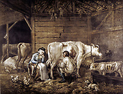 The Cowshed' mezzotint after George Morland (1763-1804) English artist. Cowman milks into bucket. Milkmaid waits, holding yoke on which buckets carried. Hay loft: Lantern: hens. Milkmaids 'pretty' because not marked by Smallpox as Cowpox gave immunity.