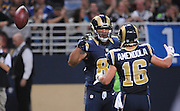 Football - NFL- Seattle Seahawks at St. Louis Rams.St. Louis Rams tight end Lance Kendricks (88, left) flips the ball over his shoulder as he is congratulated by teammate St. Louis Rams wide receiver Danny Amendola (16) in the fourth quarter at the Edward Jones Dome in St. Louis.  The Rams defeated the Seahawks, 19-13.