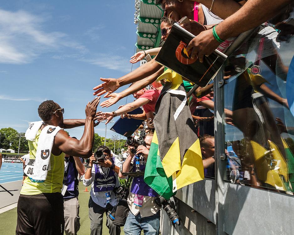 adidas Grand Prix Diamond League Track & Field: Jamaican fans mob Usain Bolt after race