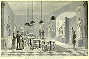 Electric lighting used in an art exhibition at the Munich Expo. From the Book Les merveilles de la science, ou Description populaire des inventions modernes [The Wonders of Science, or Popular Description of Modern Inventions] by Figuier, Louis, 1819-1894 Published in Paris 1867