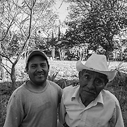 Father and son. Two workers at Mitla archeological site in the state of Oaxaca.