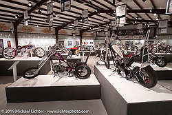 Cycle Source Magazine editor / publisher Chris Callen's Bone Daddy (L) custom Harley-Davidson Sportster and Kyle Brewer's Geezer Pleezer custom 1978 Harley Davidson / Sportster in the What's the Skinny Exhibition (2019 iteration of the Motorcycles as Art annual series) at the Sturgis Buffalo Chip during the Sturgis Black Hills Motorcycle Rally. SD, USA. Thursday, August 8, 2019. Photography ©2019 Michael Lichter.
