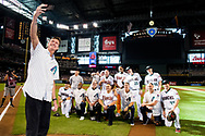 PHOENIX, AZ - AUGUST 4: Arizona Diamondbacks alumni Randy Johnson takes a selfie with members of the Arizona Diamondbacks 20th Anniversary Team pose for a photo prior to a game against the San Francisco Giants at Chase Field on August 4, 2018 in Phoenix, Arizona. (Photo by Sarah Sachs/Arizona Diamondbacks/Getty Images)