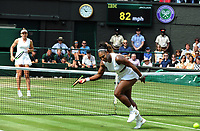 Tennis - 2019 Wimbledon Championships - Week Two, Saturday (Day Twelve)<br /> <br /> Women's Singles, Final: Serena Williams (USA) vs. Simona Halep (ROU)<br /> <br /> Serena Williams is beaten by a cross court winner by Halep on Centre Court.<br /> <br /> COLORSPORT/ANDREW COWIE