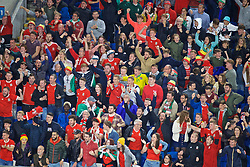 CARDIFF, WALES - Friday, September 6, 2019: Wales supporters celebrate the sequin goal scored by captain Gareth Bale during the UEFA Euro 2020 Qualifying Group E match between Wales and Azerbaijan at the Cardiff City Stadium. (Pic by Paul Greenwood/Propaganda)