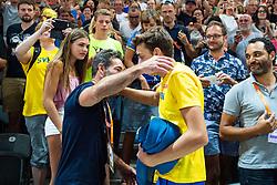 August 12, 2018 - Berlin, GERMANY - 180812 Coach and father Greg Duplantis hugs his son Armand Duplantis of Sweden when celebrating winning the men´s pole vault final  during the European Athletics Championships on August 12, 2018 in Berlin..Photo: Vegard Wivestad Grøtt / BILDBYRÃ…N / kod VG / 170206 (Credit Image: © Vegard Wivestad GrØTt/Bildbyran via ZUMA Press)