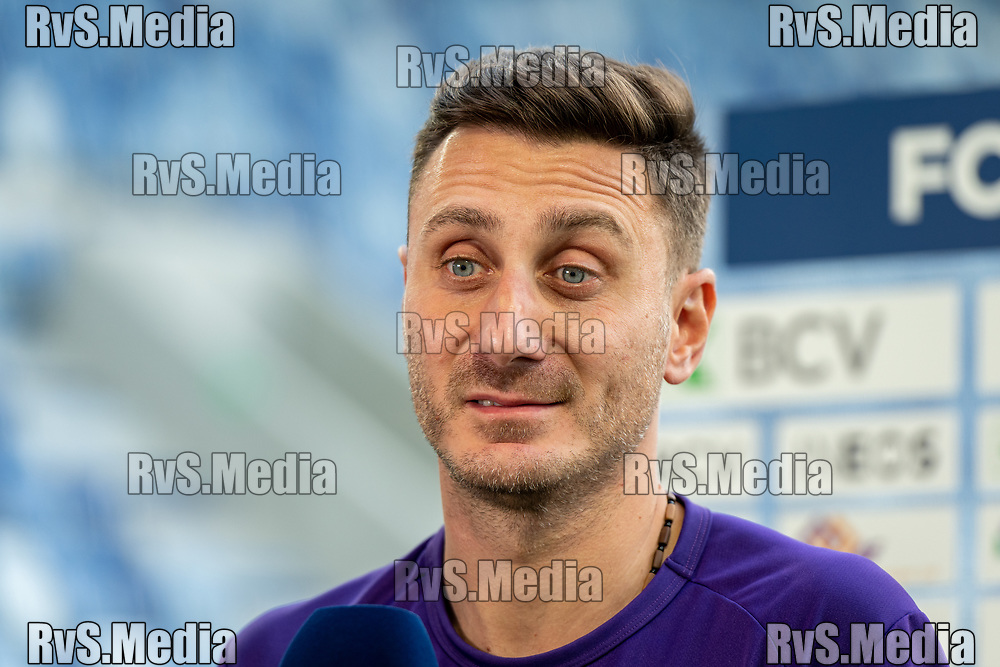 LAUSANNE, SWITZERLAND - SEPTEMBER 22: Head Coach Ilija Borenovic of FC Lausanne-Sport reacts during an interview before the Swiss Super League match between FC Lausanne-Sport and BSC Young Boys at Stade de la Tuiliere on September 22, 2021 in Lausanne, Switzerland. (Photo by Basile Barbey/RvS.Media/)