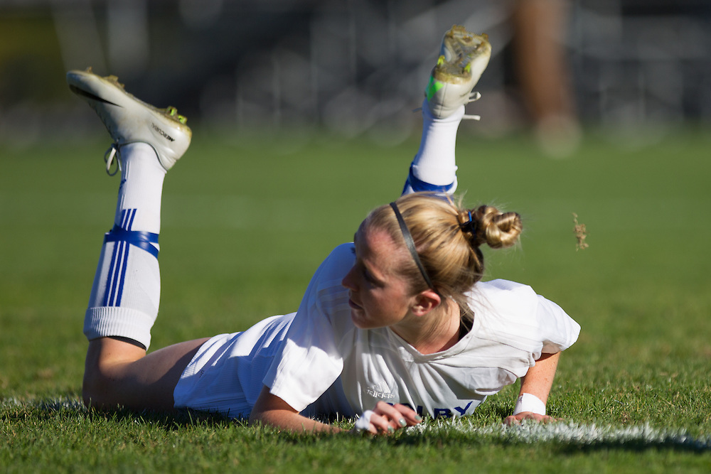 Carly Dee, of Colby College, watches her goal in the first half of a NCAA Division III soccer game against Maine Farmington on October 1, 2013 in Waterville, ME. (Dustin Satloff/Colby College Athletics)