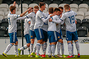 Russia's Andrei Savinov celebrates with his team mates following their 2nd goal of the game during the U17 European Championships match between Scotland and Russia at Simple Digital Arena, Paisley, Scotland on 23 March 2019.