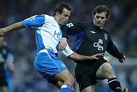 Fotball<br /> Premier League England 2004/2005<br /> Foto: SBI/Digitalsport<br /> NORWAY ONLY<br /> <br /> Blackburn v Everton<br /> Barclays Premiership. 18/12/2004. <br /> <br /> Lucas Neill of Blackburn tussles with Kevin Kilbane of Everton.
