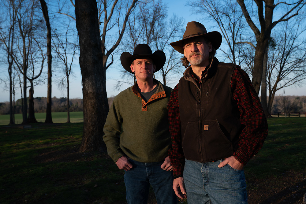 Jake (right) and Stan Stanfill pose for a portrait on Stan Stanfill's property just outside Athens, Ga. on Wednesday, January 22, 2020. Bill Stanfill's children are going public with the fact that he suffered from CTE. Bill Stanfill played several years for the Miami Dolphins, including their famed 1972 season in which they went undefeated and won Super Bowl VII. Photo by Kevin D. Liles for The New York Times
